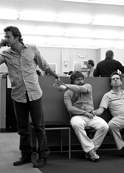 The Hangover is a 2009 American comedy film, directed by Todd Phillips.  The film stars Bradley Cooper, Ed Helms, Zach Galifianakis, Heather Graham, Justin Bartha, and Jeffrey Tambor. The Hangover tells the story of Phil Wenneck, Stu Price and Alan Garner, who travel to Las Vegas for a bachelor party to celebrate their friend Doug Billings' impending marriage. However, Phil, Stu and Alan have no memory of the previous night's events and must find Doug before the wedding can take place.