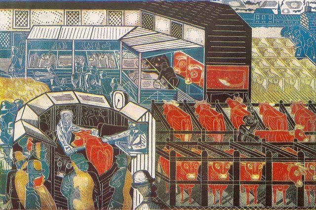 Edward Bawden 1937 Cattle Market lithograph