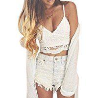 Femmes Débardeurs Ularmo Femmes Crochet Réservoir Camisole en dentelle Vest Blouse Bralet Bra Crop Top