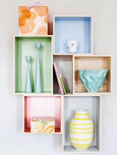Forvandling: Lav selv en farverig boksreol - - Femina