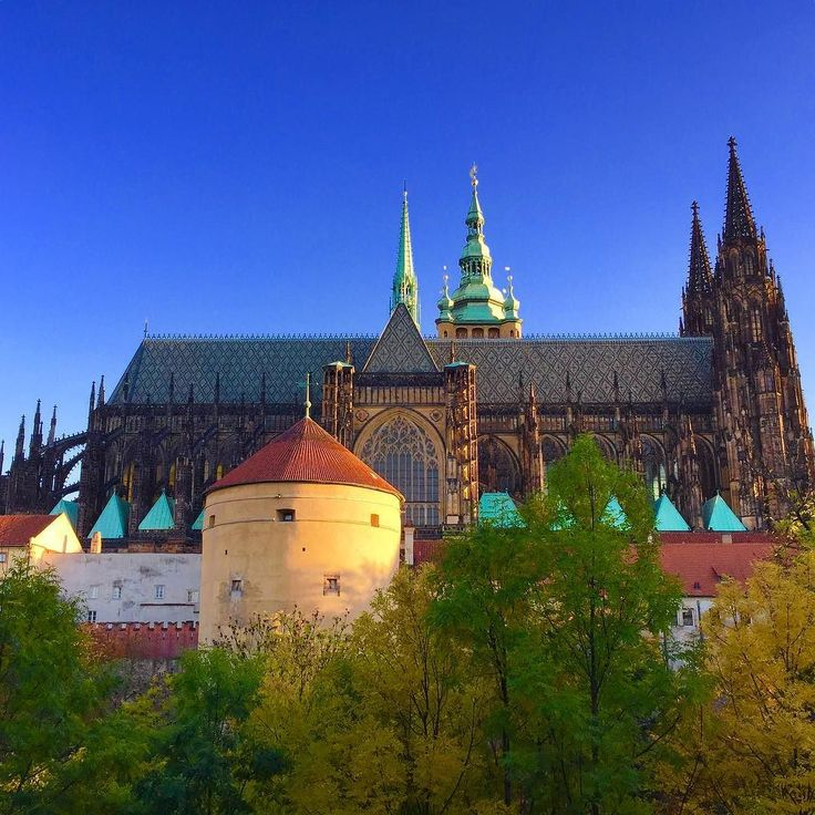 Cathedral of Saint Vitus at the Prague Castle in autumn sunsets light