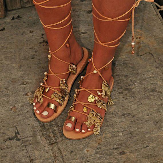 """Sandalen """"Antiopi"""", Gouden Bruids platte sandalen, luxe Griekse sandalen, Gladiator lederen schoenen, Pearl sandalen, schoenen van de zomer, op bestelling gemaakt"""