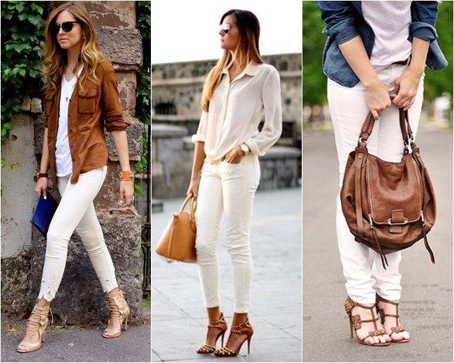 calça branca + marrom
