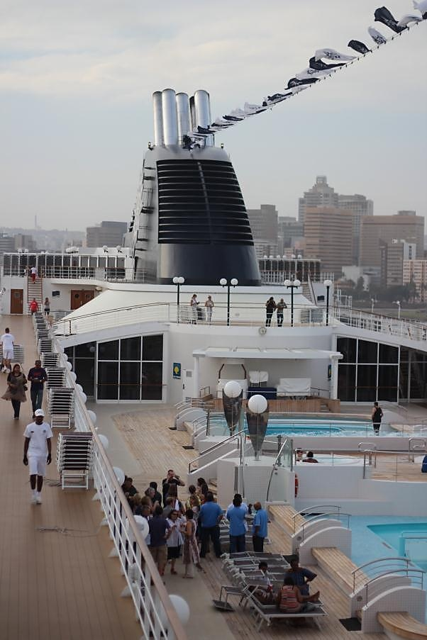 MSC Opera, an elegant cruise liner making her debut in South Africa's Durban harbour.