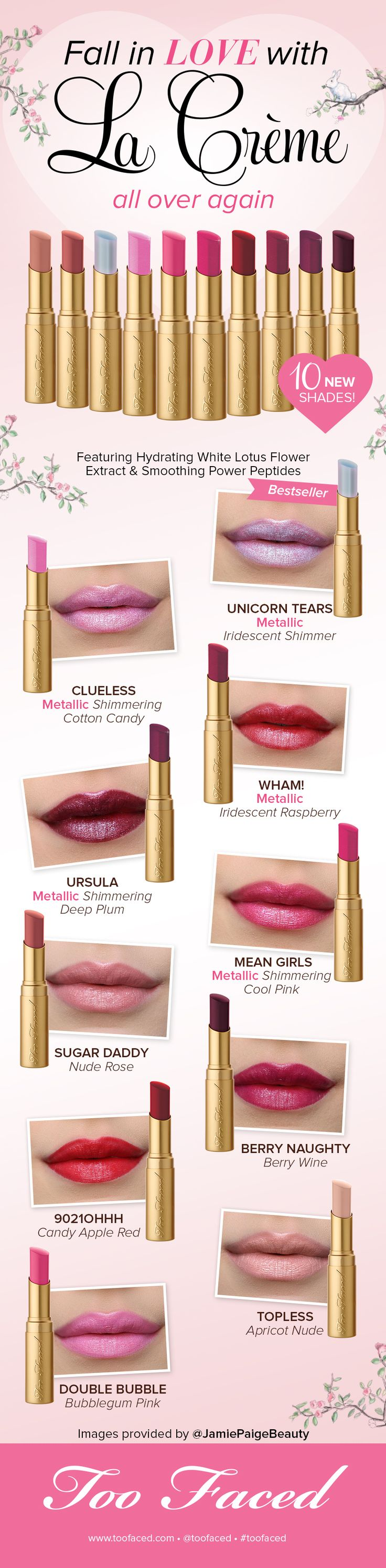 La Crème Swatches: See all 10 New Shades! - Too Faced - Too Faced Cosmetics - #toofaced