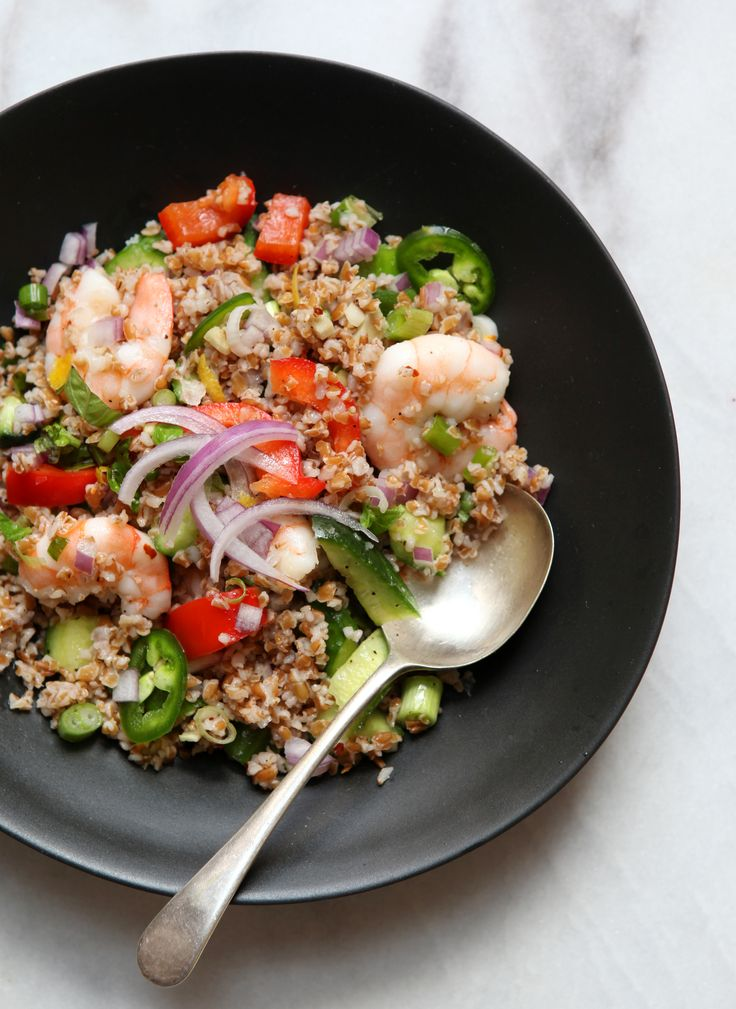 Bulgur Salad with Shrimp and a Lovely Cumin Dressing.  I'm in love with this blog!