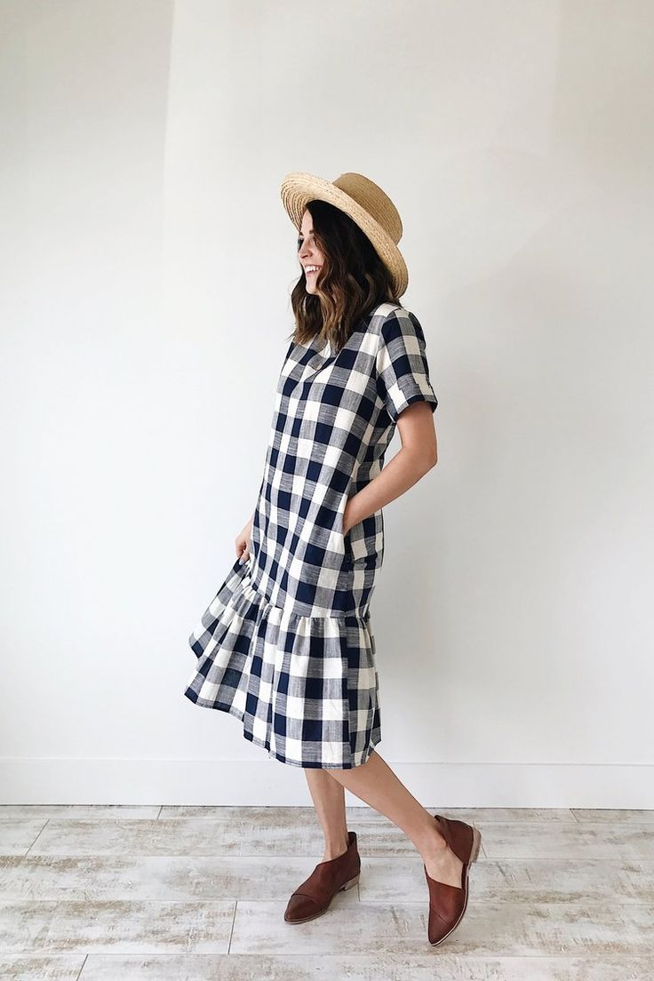 Navy + White Plaid Dress | ROOLEE