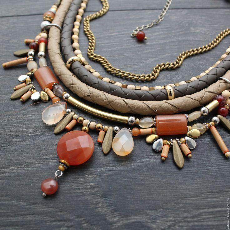 """Купить Многорядное колье """"Vermell"""". Украшение из натуральных камней - колье, украшение с камнями"""