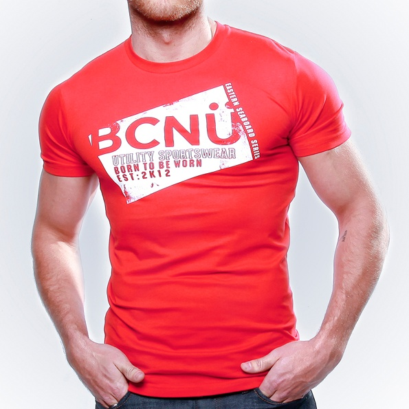 Spor-TEE Red     Born To Be Worn this 100% Cotton UtiliTEE is useful, functional, versatile, sporty and has been designed for everyday use. Dress it up, dress it down, wear it in, wear it out.   It's our favourite UtiliTee. It look's good, feel's good and is designed for urban lifestyle. www.bcnuclothing.com