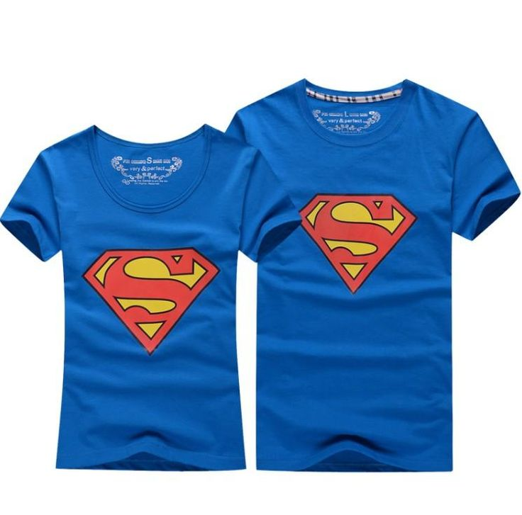Superman T Shirt Lovers clothes Women's Men's casual O neck short sleeve t-shirts couple t shirt for lovers T-shirt couple shirt