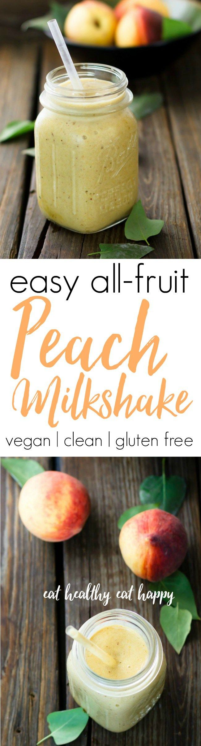 This peach milkshake tastes like an ice cream shake, but it's made from frozen fruit! Vegan, clean, gluten free.