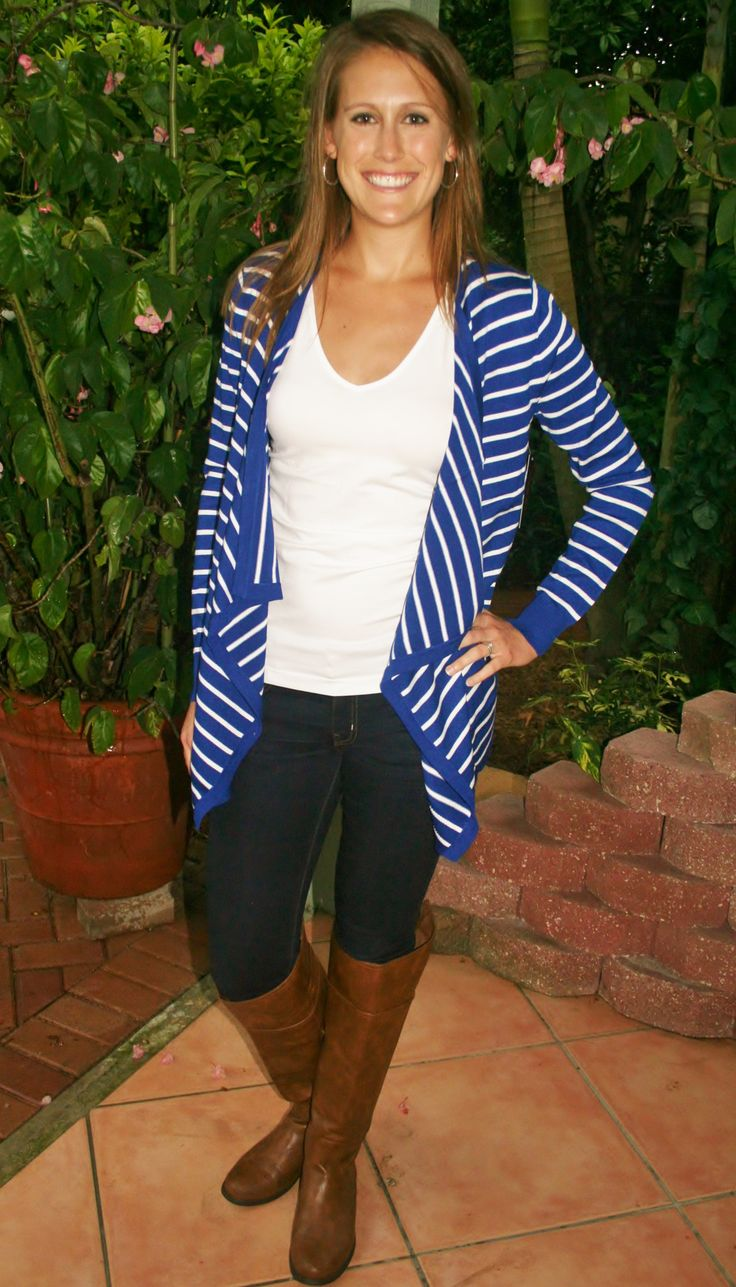 Royal Blue & White Striped Cardigan