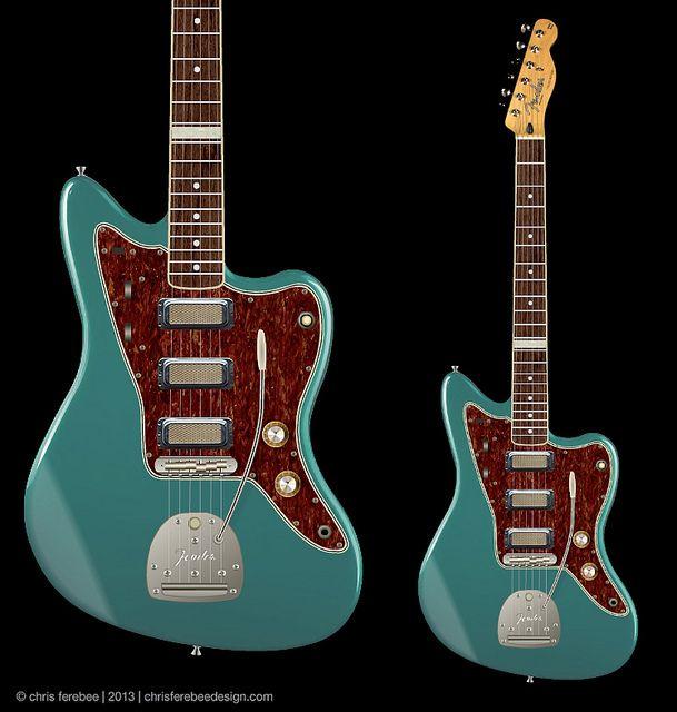 custom Fender Jazzmaster w/ mojo gold foil pickups   design/concept - modified Fender Jazzmaster/Telecaster hybrid   Chris Ferebee, 2014