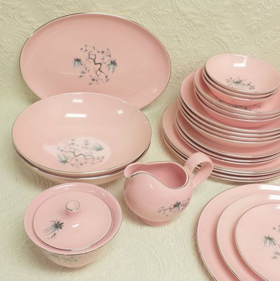 5 Pc Hostess Serving Set ~ Dwarf Pine Pink by Taylor, Smith, Taylor ~ Sugar & Creamer, 2 Vegetable Bowls, 1 Oval Platter ~ Replacement China