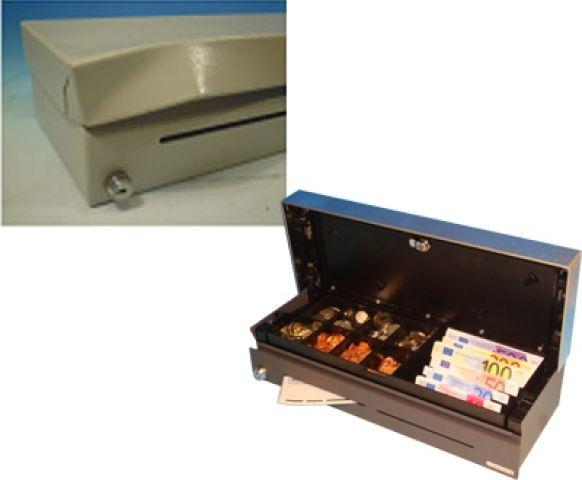 Cash Bases Fliptop Cash Drawer  460w x 175d x 100h Epson RJ12 inc 6 Note 6 Coin tray Lockable Lid Anti Tamper Lid Black