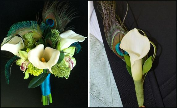peacock feather wedding bouquet | Afloral.com Wedding Blog