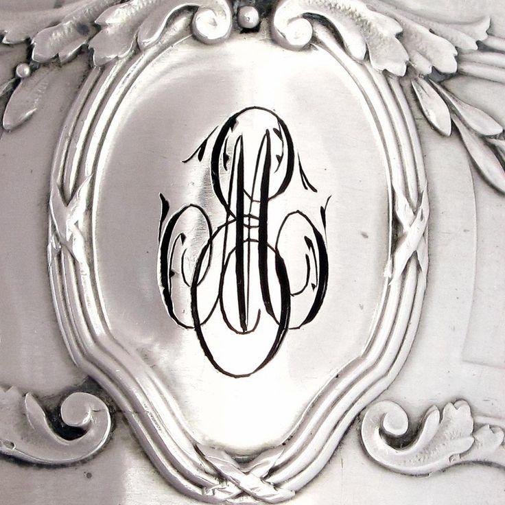 Monogram Vintage French Silver Napkin Ring Embroidery Monograms Pinterest Posts