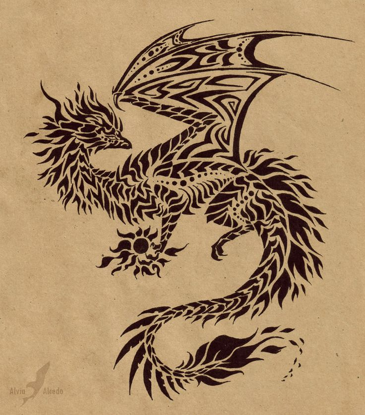 Fire dragon flame holder - tattoo design by =AlviaAlcedo on deviantART