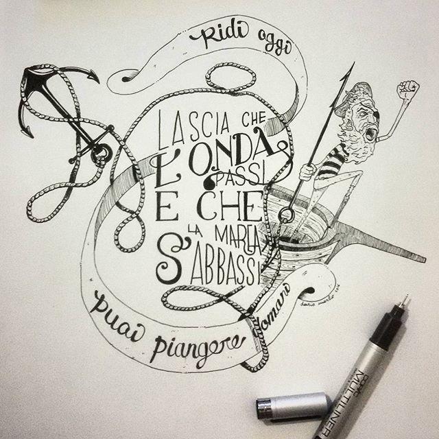Let the #wave goes away and the #lowtide comes.  #mondonontondo #illustration #illustrazione #draw #pen #ink #typo #calligraphy #sailor #ancora #anchor #marinaio #sealife #vitadimare #lupodimare #fineart #art