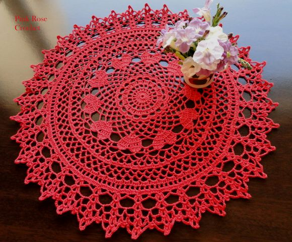 PINK ROSE CROCHET /: Valentine Ring of Hearts Doily