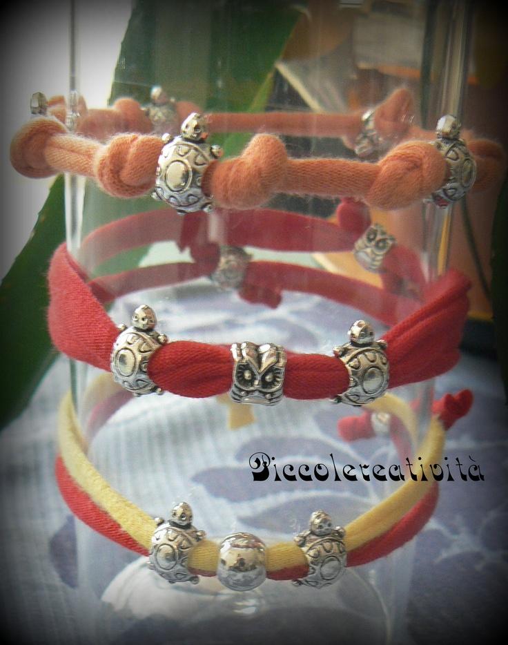 bracciali di fettuccia e perle