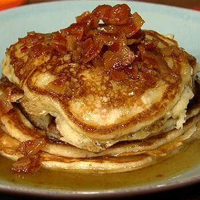 omg. bacon pancakes with maple burbon butter sauce. my hubby and my father would LOVE this.