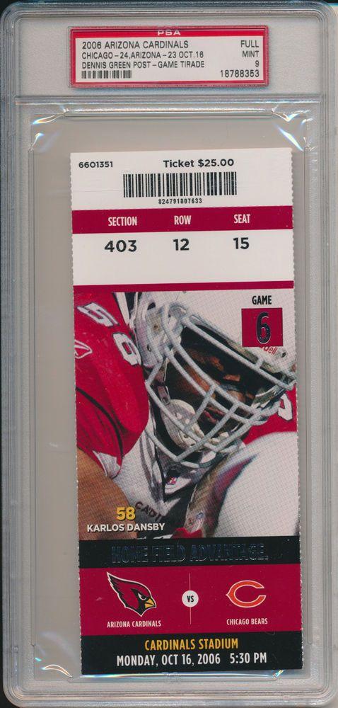 WE LET THEM OFF THE HOOK!!!!!!!!   2006 CHICAGO BEARS vs AZ CARDINALS DENNIS GREEN TIRADE FULL TICKET PSA 9 #788353 #Ticket