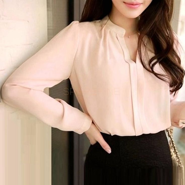 2016 Spring Women Chiffon Shirt Blouse Ladies White Pink Elegant Sexy V-neck Long Sleeve Shirts Female Office Shirt Plus Size  #jewelry #beauty #stylish #cute #model #outfitoftheday #style #fashion #jennifiers #hair #makeup #outfit #styles #beautiful #purse
