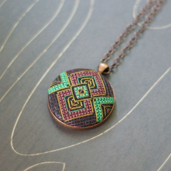 Art Deco geometric cross stitch necklace/ pendant by TheWerkShoppe