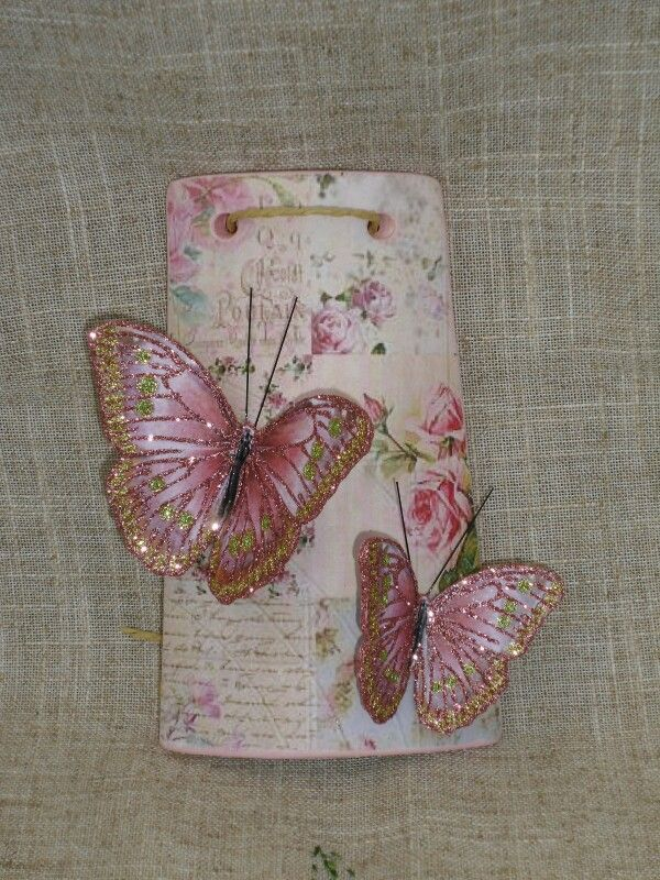 Tegolina con farfalle rosa