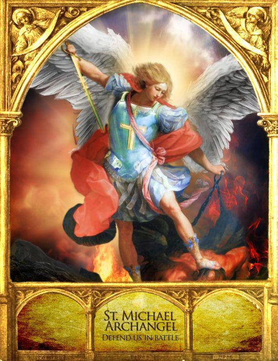 Saint Michael Archangel Catholic art Religious by ThreeArchangels