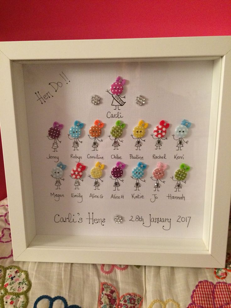 "Hand Decorated Box Frame - ""Hen Party""  Available to order"