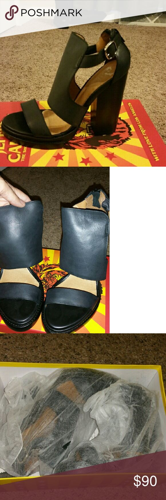 Jeffrey Campbell sandals Black Jeffrey Campbell leather platform sandals.  Size 8.  Brand new.  Bought from another Posher and just never got around to wearing them. Jeffrey Campbell Shoes Sandals