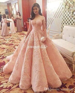 Michael Cinco Ball Gown Evening Dresses Full Lace Blush Short Sleeve Sheer Back Applique Chapel Train 2016 Luxury Celebrity Gowns Prom Dress Online with $177.29/Piece on Sweet-life's Store | DHgate.com