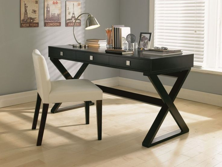 Computer Table Or Writing Desk With Pull Out Drawer And X Base Plus Stretcher In Black Finish With White Upholstered Chair