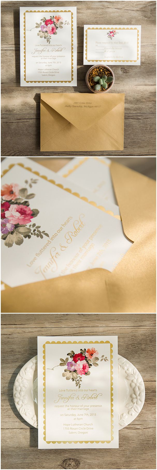 84 Best Gold Foil Wedding Invitations Images On Pinterest
