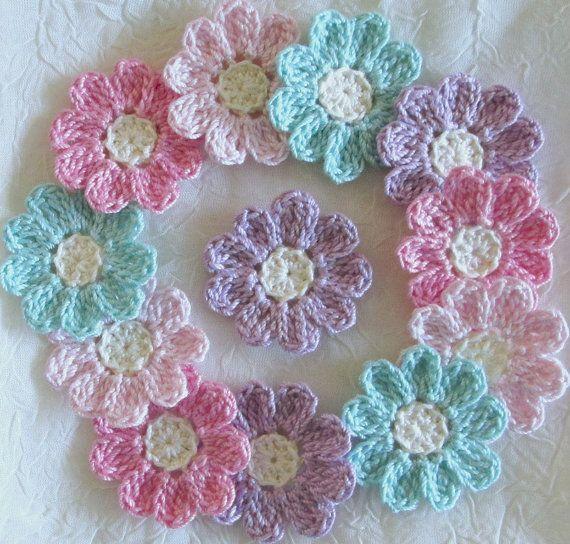Apliques de flores de ganchillo conjunto de 12 por IreneStitches