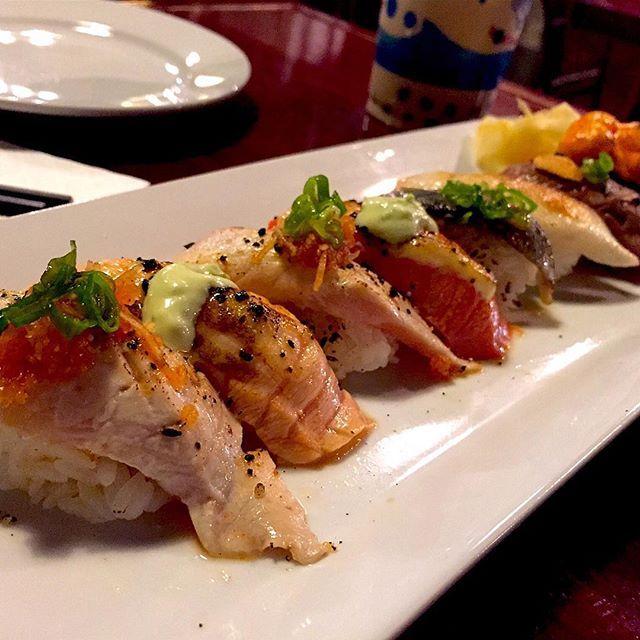 @sushiloku. Just can't have enough aburi's! Here's the Aburi set (salmon tuna wild salmon hamachi chopped scallop toro beef tako) at Sushi Loku ||  #food #foodie #yvreats #yvrfoodie #yvrnomz #yvr #eats #nomnom #yummy #delicious #aburiagain #aburi #salmon #sushi #tuna #toro #hamachi #choppedscallop #vancouverfoodie #vancityfood #604eats #sushiloku #broadway #hiddengem #vancouver #foodporn #foodgasm #ilovesushi #japanese #foodphotography by yvrnomz_