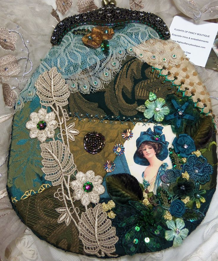 Teal crazy quilt purse by Pat Winter