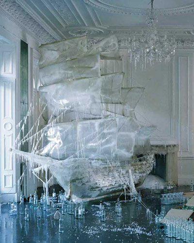 Ice ship sculpture ~ from set designer and art director, Rhea Thierstein  -- here, a set design for Vogue Magazine -- photo by Tim Walker