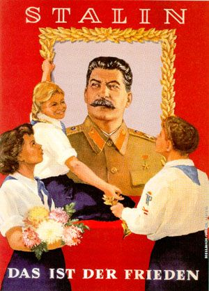 East German tribute to Stalin poster