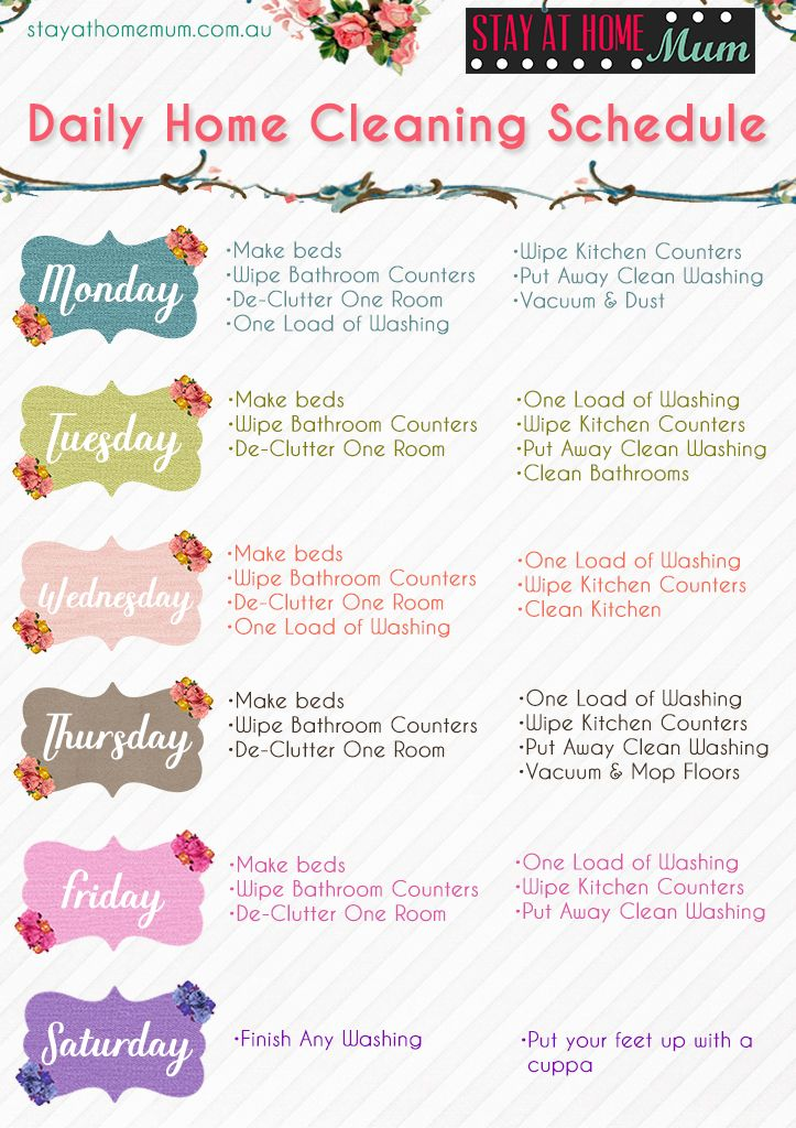 This is a graphic of Handy Daily Cleaning Schedule Printable