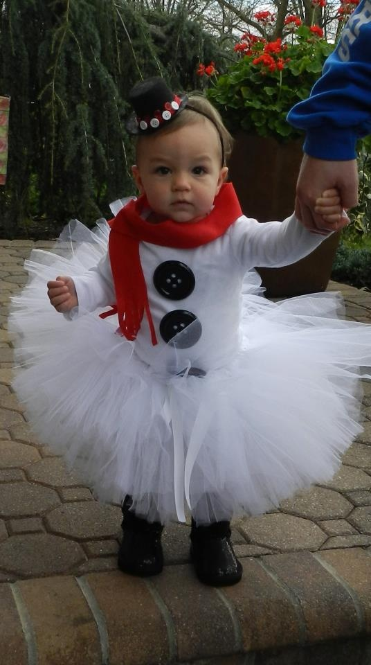 Pinterest inspired frosty the snowman tutu costume...
