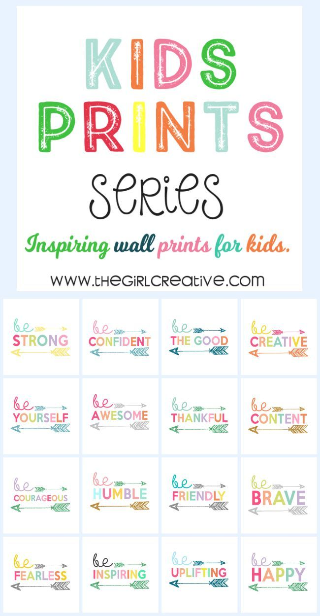 Kids Print Wall Art Collection - Free Printables for Kids #decor #idea #printablesforkids