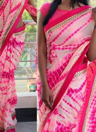 Hot Pink Mirror Work Border Lace Work Chiffon Designer Printed Sarees http://www.angelnx.com/Sarees