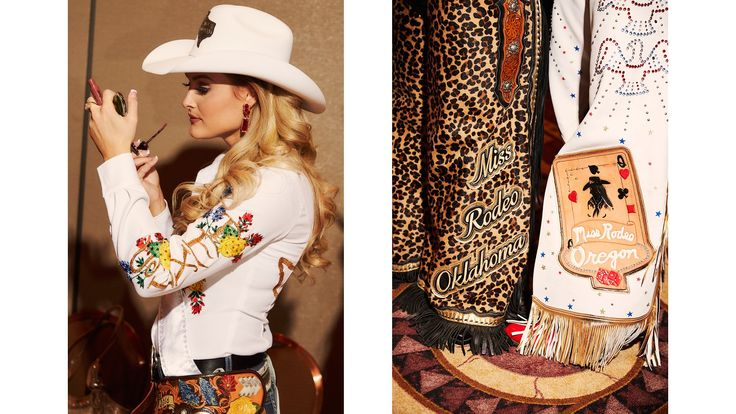 From left: Miss Rodeo Texas and now-Miss Rodeo America 2017, Lisa Lageschaar, at the horsemanship interviews and fashion show rehearsals; Miss Rodeo Oklahoma, Sydney Spencer, and Miss Rodeo Oregon, Katie Schrock, at the horsemanship interviews and fashion show rehearsals.