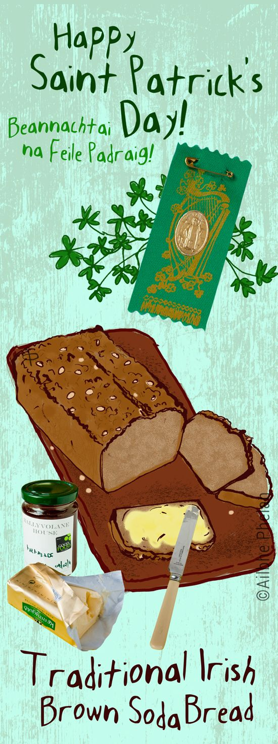 St Patrick's Day - Traditional Irish Brown Soda Bread. Recipe on simplySplendifero... #ailbhephelan #illustration #food #illustratedrecipes #StPatricksDay #Irish  #Traditional @kerrygold #IrishButter #kerrygoldUSA