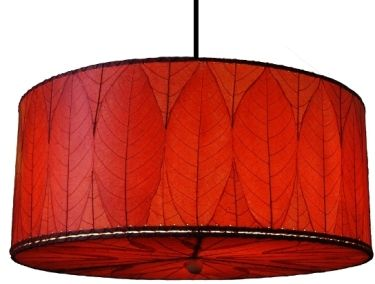 cocoa leaf light red leaves hanging drum pendant 2 lights plug in or direct wire