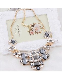 Geometric Gems Inlaid Floral Fashion Costume Necklace - Gray