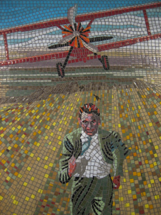 North by Northwest mosaic at the Leytonstone station